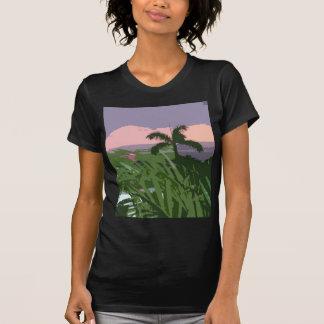 Tropisk hawaiansk handflatan och sjölandskap t shirts