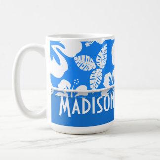 Tropisk hibiskus för Azure blått; Personlig Vit Mugg