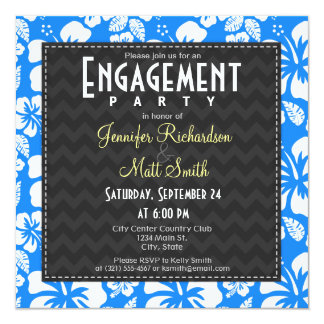 Tropisk hibiskusförlovningsfest för Azure blått Fyrkantigt 13,3 Cm Inbjudningskort