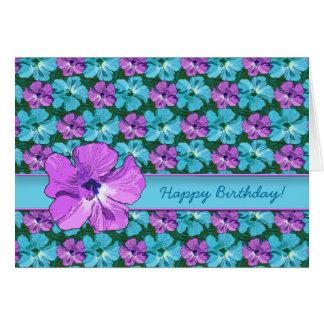 Tropisk hibiskusturkos och lilor hälsningskort