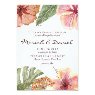 Tropisk inbjudan för vattenfärgdestinationsbröllop