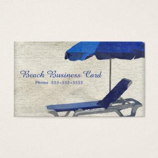 Tropisk kanfas för beige- och blåttstrandstol visitkort
