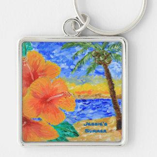 Tropisk målning för sol för träd för fyrkantig silverfärgad nyckelring