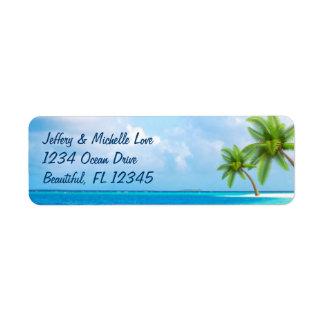 Tropisk palmträdstrandadress returadress etikett