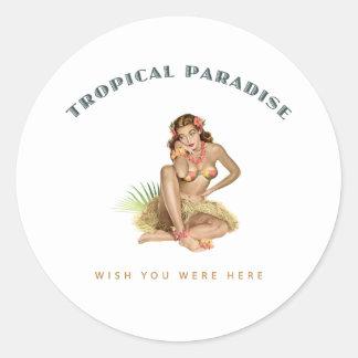 Tropisk paradisöflicka runt klistermärke