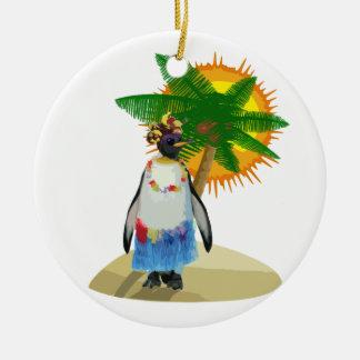 Tropisk pingvin julgransprydnad keramik