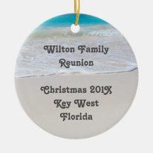 Tropisk prydnad för minnessak för strandfamiljmöte juldekoration
