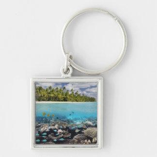 Tropisk södra Ari Atoll för lagun | Fyrkantig Silverfärgad Nyckelring