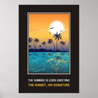 Tropisk solnedgång med det motivational trycket fö affisch