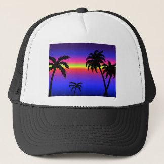 Tropisk solnedgånghatt för palmträd truckerkeps