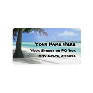 Tropisk strand adressetikett