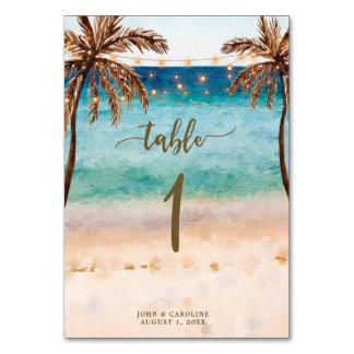 Tropisk strand för boho för bröllopbordsnummerkort bordsnummer