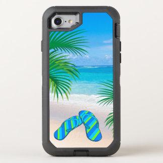 Tropisk strand med palmträd och flinflip flops OtterBox defender iPhone 7 skal
