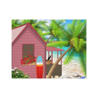 Tropisk strand slågen in kanfas canvastryck