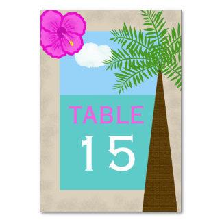Tropisk strand som gifta sig bordsnummerkort bordsnummer