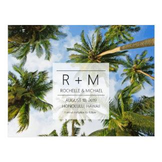 Tropisk strandbröllop spara datum vykort