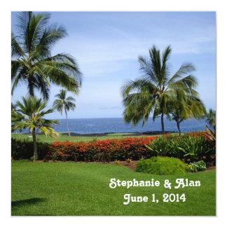 Tropisk strandbröllopinbjudan fyrkantigt 13,3 cm inbjudningskort
