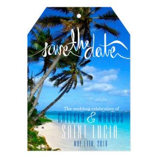 Tropisk stranddestinationsbröllop spara datum 12,7 x 17,8 cm inbjudningskort