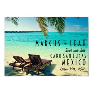 Tropisk stranddestinationsbröllop spara datum 8,9 x 12,7 cm inbjudningskort