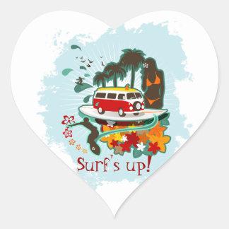 Tropisk strandplats hjärtformat klistermärke