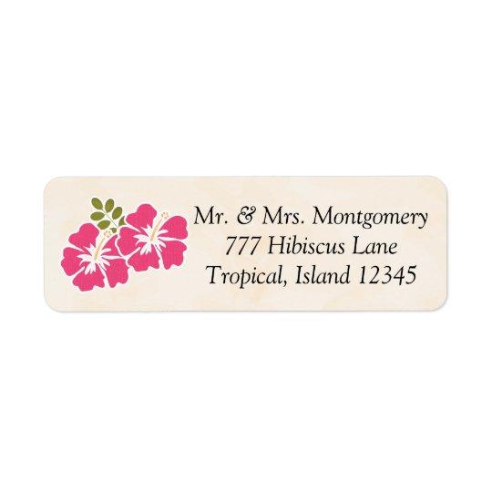 Tropisk Themed hawaiibo för Fuchsia hibiskus Returadress Etikett