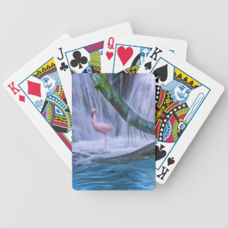 Tropisk vattenfall, rosa Flamingo som leker kort Spelkort
