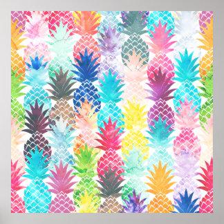 Tropisk vattenfärg för hawaianskt ananasmönster poster