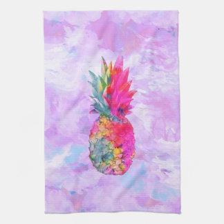 Tropisk vattenfärg för ljus ananas för neon kökshandduk