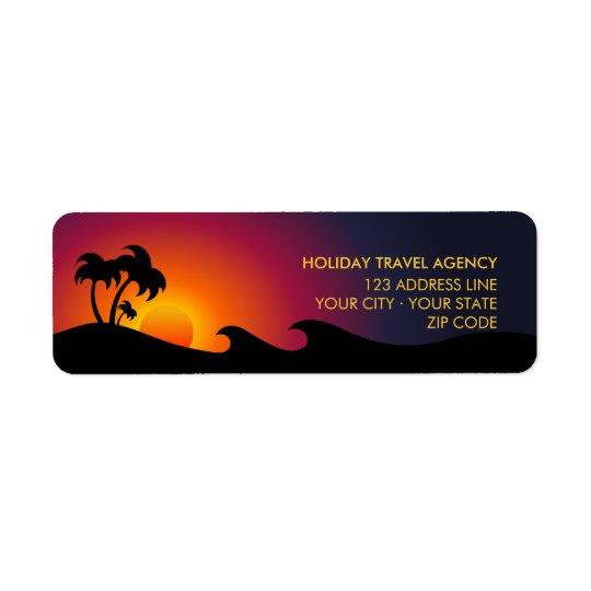 Tropiska etiketter för öhavpalmträd returadress etikett
