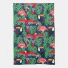 Tropiska fåglar i ljusa färger kökshandduk