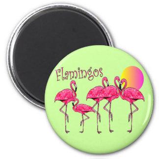 Tropiska Flamingokonstgåvor Magnet Rund 5.7 Cm