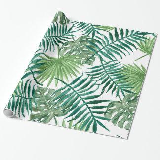 Tropiska löv för modern vattenfärg presentpapper
