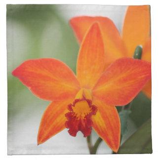 Tropiska orange Orchidservetter Tygservett
