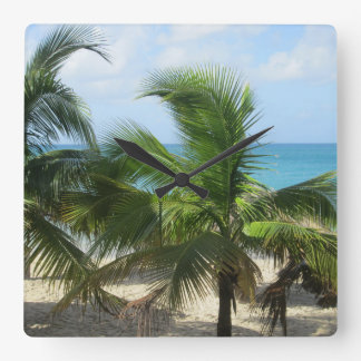 Tropiska palmträd fyrkantig klocka