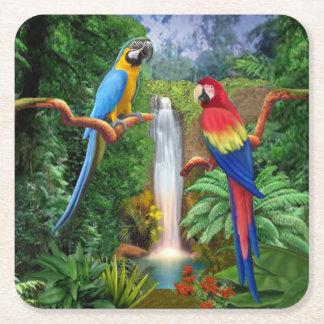 Tropiska papegojor för Macaw Underlägg Papper Kvadrat