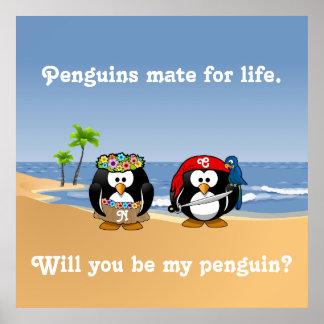 Tropiska pingvin kopplar ihop stranden för den Hul Poster