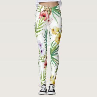 Tropiska rosor för gult för ananashibiskuslövverk leggings