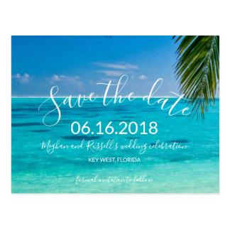 Tropiska strandbröllop spara datumvykort vykort