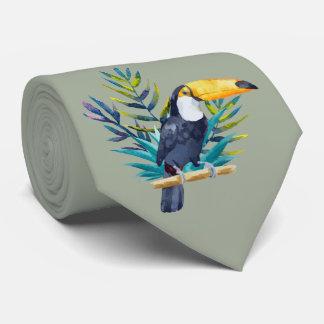 Tropiska Toucan i deppighet på Mossgrönt Slips