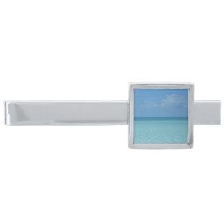 Tropiska turkosblått för karibisk horisont silverpläterad slipsnål