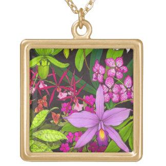 Tropiskt halsband för Orchidblommigtträdgård
