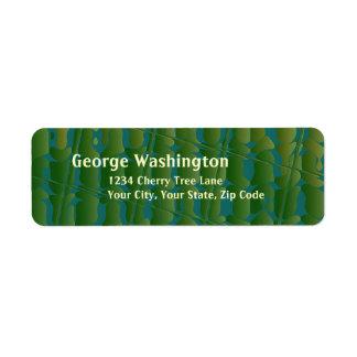 Tropiskt inspirerat grönt- och blåttmönster returadress etikett