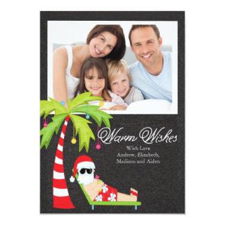 Tropiskt kort för foto för familj för Santa 12,7 X 17,8 Cm Inbjudningskort