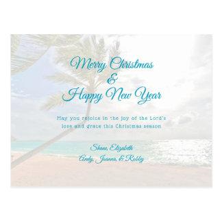 Tropiskt kort för meddelande för nytt år för jul vykort