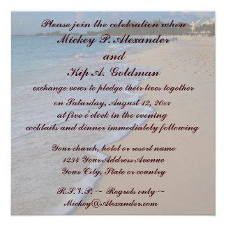 Tropiskt turkoshav och sandig strand fyrkantigt 13,3 cm inbjudningskort
