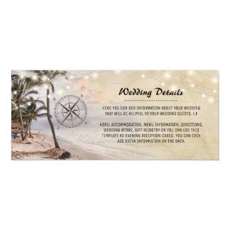 Tropiskt vintagestrandbröllop specificerar 10,2 x 23,5 cm inbjudningskort