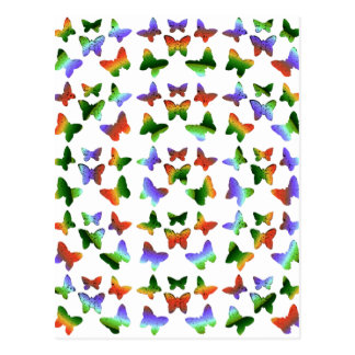 Tropiskt virvla runt fjärilsmönster vykort