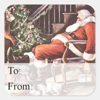 Trött märkre för Santa vintagegåva Fyrkantigt Klistermärke