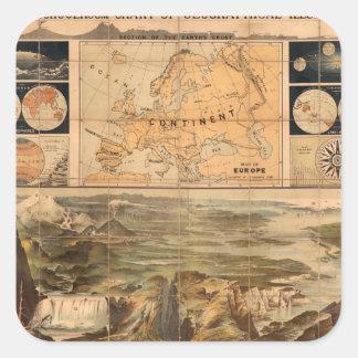 Trött världskarta 8 fyrkantigt klistermärke