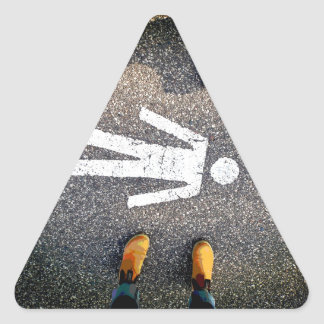 Tröttad är du triangelformat klistermärke